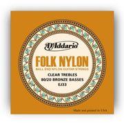 Daddario ダダリオ ボールエンドナイロン弦 Folk Nylon EJ33 80/20 Bronze/Clear Nylon Trebles