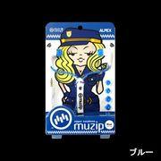 ALPEX muzip ジッパー型イヤホン インナーイヤフォン AHP-118 イヤホン イヤフォン ブルー