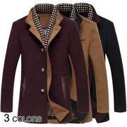 【メンズ】全3色★レイヤードチェック柄立ち襟スエード調ミドル丈コート :M01A0014