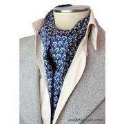 エレガント袋縫い葉っぱ柄メンズ用100%シルクスカーフ 1069d