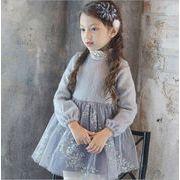 子供 キッズ お嬢風 セーター ワンピース 厚手 レース付き 女の子 日常衣装 秋冬服