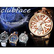 【人気!!】革バンド メンズウォッチ プレーンタイプ ビッグフェイス メンズ腕時計 CF-9000SMP