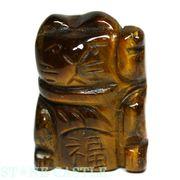 【彫刻置物】招き猫 「福(左手)」 20mm タイガーアイ