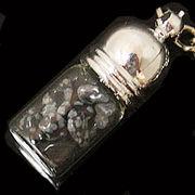 天然石チップ お守り瓶キーホルダー スノーフレークオブシディアン(Snowflake Obsidian)