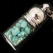 天然石チップ お守り瓶キーホルダー ハウライトターコイズ青緑(Howlite Turquoise)