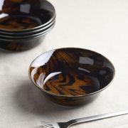 ウッドスタイル アメ色 15cmサラダボウル/軽量陶器[美濃焼]