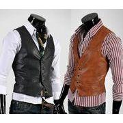メンズレザーベスト  通勤フォーマル  ジャケット  皮コート  礼服   カジュアル   紳士服ビジネス