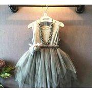 子供服 キッズ 女の子 ベストスカート ワンピース  ノースリーブ 膝上 チュール