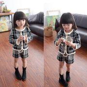 子供服 キッズ 女の子 可愛い ジャケットショーツ上下セット チェック柄 ファッション 長袖 ラウンドネック