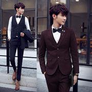 3ピース/メンズ ビジネススーツ/2ツボタン カジュアル/背広/パーティー 結婚式 紳士服/suit