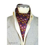 エレガント袋縫いプリント柄メンズ用100%シルクスカーフ 10112