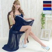 0552胸元豪華ビジュー斜めカットロングドレス パーティードレス フォーマル キャバドレス