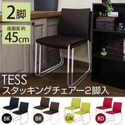 TESS スタッキングチェア 2脚入り BK/BR/GN/RD