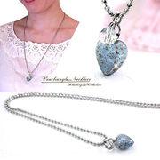 【大特価!】ベネチアンガラスネックレス!ハートネックレス!水晶×ロングネックレスです!Kz-5003