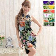 1008フラワーパワーネットミニチャイナドレス 衣装 コスプレ キャバドレス ハロウィン