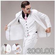 スリーピーススーツ メンズ 白 ビジネススーツ 1ボタン リム 上下セット パーティー 結婚式 二次会