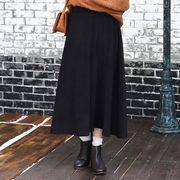 ◆起毛素材・ロング丈フレアスカート/ボトム/ミモレ丈/裏地付き/ベーシック/無地/ボリューム◆425049