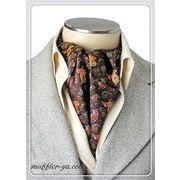 エレガント袋縫いプリント柄メンズ用100%シルクスカーフ 10118
