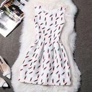 【即納】04849235 スプリングファッション♪リップスティックプリント♪ワンピ