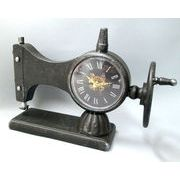 【お仕入れ10000円で送料無料♪♪】【アンティークミシン風時計】ブラック ゴールド針