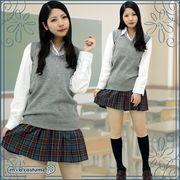 ■送料無料■チェック柄プリーツスカート単品色:グレーチェック サイズ:M/BIG
