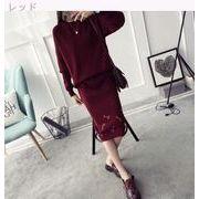 新しいデザイン★韓国風★2点セット★ティー★ルース★セーターの女性★ヘッジ★単一色★長袖