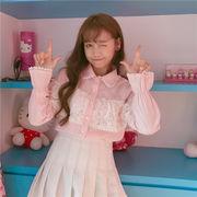新しいデザイン★韓国風★学生★人形の襟★メッシュ★レースのステッチ★ルース★トップス★長