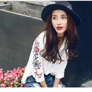 花柄刺繍シャツ  透け感ブラウス レディース トップス  春物プルオーバー  スキッパーシャツ