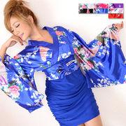 【再入荷】0328☆リボン付きサテン孔雀柄&ストレッチギャザーミニ花魁着物ドレス 和柄 コスプレ