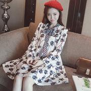 Rinaシリーズ★春夏★新しいデザイン★韓国風★女性服★ひもあり★プリント★長袖★着やせ