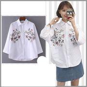 花柄刺繍ブラウス レディーストップス 春長袖体型カバー シャツゆったり カジュアル