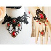 ◆ゴシックシリーズ◆  ブラックレース宝石 ネックレスとブレスレットセット