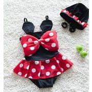 水着キャミワンピ女の子 キッズ 一体型可愛い子供服 スイムウェアスイミング 帽子 2点セット