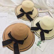 レディース麦わら帽子 3色 ファッション 夏 ハット UV対策 つば広帽子 日よけ