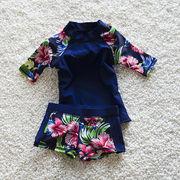 水着 女の子 キッズ 子供服 可愛い スイミング セパレート 上下セット 長袖トップス+パンツ2点セット