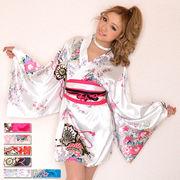 【再入荷】0326サテン和柄豪華花魁ミニ着物ドレス 和柄 衣装 ダンス よさこい 花魁 コスプレ キャバドレス