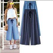 【大きいサイズXL-5XL】ファッションパンツ♪ダークブルー/ライトブルー2色展開◆