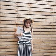 春夏★新しいデザイン★女性服★ストライプス★ノースリーブ★キャミソール★ハイウエスト★レ