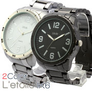 【L'etoile】ビッグフェイス メンズ 腕時計 IK6