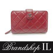 シャネル 財布 二つ折り 財布 ボルドー ラムスキン A48667 タイムレスクラシック シルバー