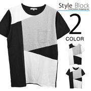 ブロッキングクルーネックTシャツ/sb-255683