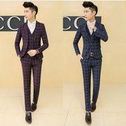人気新品 高級感 チェック柄スーツ スリムスーツ ビジネススーツス大きいサイズ 3ピーススーツ通勤用M~6XL