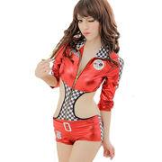 レースクイーン コンパニオン キャンギャル セクシー コスチューム フロントファスナー コスプレ 衣装 赤