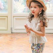 女の子 可愛い 上下2点セット 肩フリルブラウス 花柄パンツ Tシャツ 夏 プリンセス キッズ 子供服 全2色
