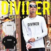 2017春夏新作★【DIVINER】サークルスカルロングTシャツ/メンズ カットソー トップス ロンT ロゴT