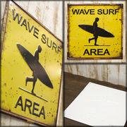 レトロ調 ★ スクエア エンボスプレート Wave Surf★