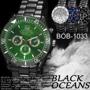 【選べるケース有or無】  腕時計 デザインクロノグラフ ブラック メタルバンド ウォッチ◇BOB-1033