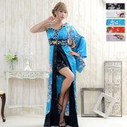 0311バタフライブローチ装飾サテンビジューワンショルロング着物ドレス 和柄 花魁 コスプレ キャバドレス