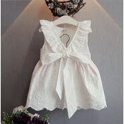 女の子 新作 ビックVネック ワンピース リボン 穴あき綿レース刺繍 フリル ノースリーブ キッズ 子供服