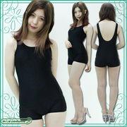 ■送料無料■パッド付きの本物スクール水着(ズボンタイプ) 色:黒 サイズ:M/L/XL/XXL